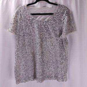 🧚Chico's Sequin Short Sleeve Top